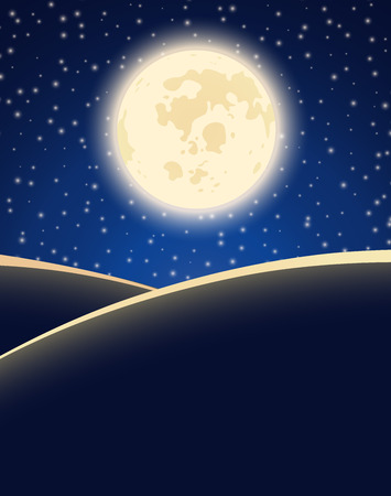 starry night: Big moon on starry night sky background.