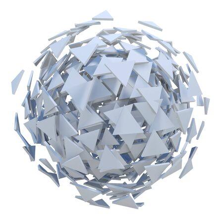 exploded: White sphere exploded to polygons 3D rendering. Stock Photo