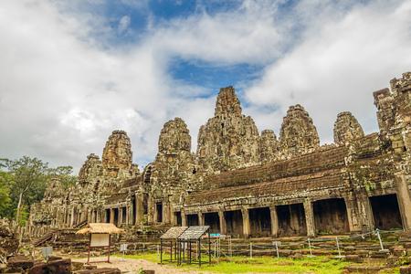 Ancient ruins of Bayon Temple at Angkor area, Siem Reap, Cambodia.