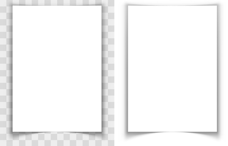 vertical dividers: A4 paper page curled edges shadow effect vector template. Eps10 vector file with transparency.