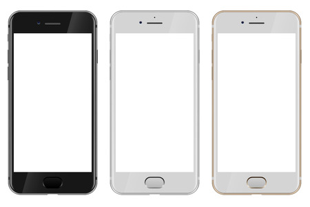 newest: Front view of black, white and gold modern smartphone with blank white screen  isolated on white background.