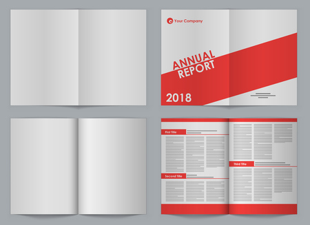 two page spread: Blank A4 booklet front and back two-page spread vector template with simple design sample. Organized EPS10 file with separate layer for design.