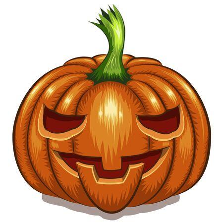Halloween pumpkin face isolated on white background vector illustration.