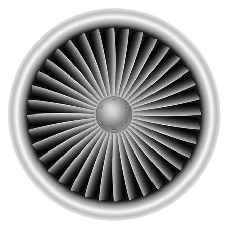 Plane turbine front view isolated on white background vector illustration. Vektorové ilustrace