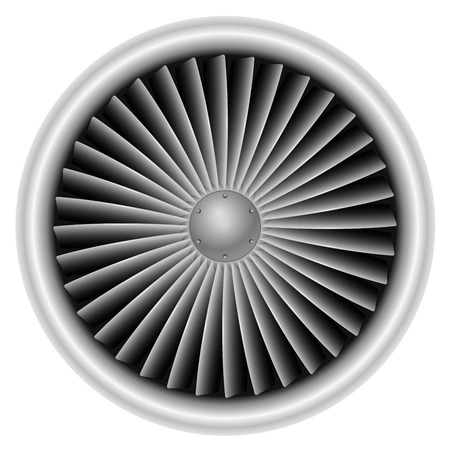 Plane turbine front view isolated on white background vector illustration.