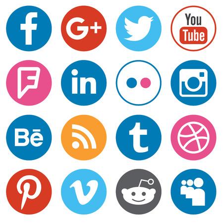 SAINT-PETERSBOURG, RUSSIE - 29 septembre 2016: ensemble de boutons de conception plat avec logotypes des réseaux sociaux les plus populaires isolé sur fond blanc. Illustration éditoriale illustration vectorielle. Banque d'images - 63242562