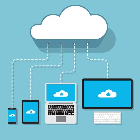 cloud service: Computers devices connected to the cloud service concept illustration. Smartphone, tablet, laptop and desktop PC synchronizing via server.