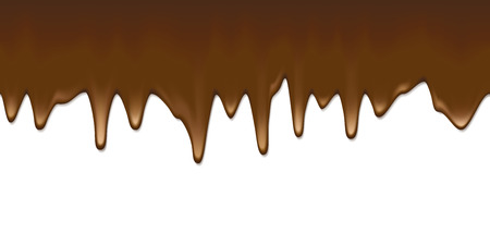 Liquid chocolate flowing down white blank surface vector template. Hot choc horizontal seamless background with copy space.