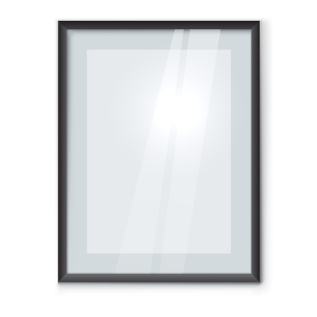 Blank picture frame with black rim hanging on the wall vector template. Framed photo mockup with copy space.