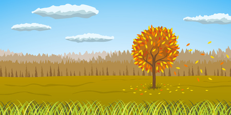 Autumnal orangy yellow landscape with the tree turned yellow and falling leaves  vector illustration.
