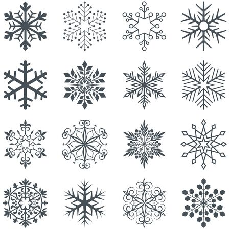 snowflake snow: Snowflake shapes vector set isolated on white background. Collection of ornamental abstract snow flakes.