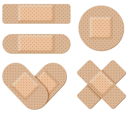 antiseptic: Antiseptic bandage vector set isolated on white background.  Adhesive bandage collection in form of stripes, cross and heart.