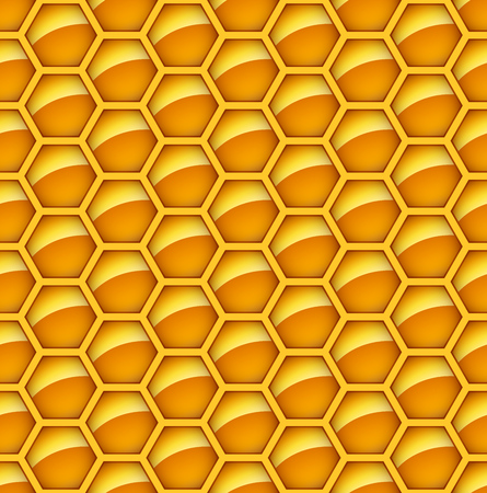 beeswax: Seamless glossy orange honey comb vector background. Abstract hexagon tileable backdrop.