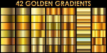Set van 42 gouden kleur illustrator hellingen met zwarte achtergrond. Alle gradiënten worden toegevoegd aan stalen en klaar voor gebruik.