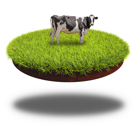 floating: Cow grazing on the round cut piece of soil covered with lush green grass. 3D rendering collage.