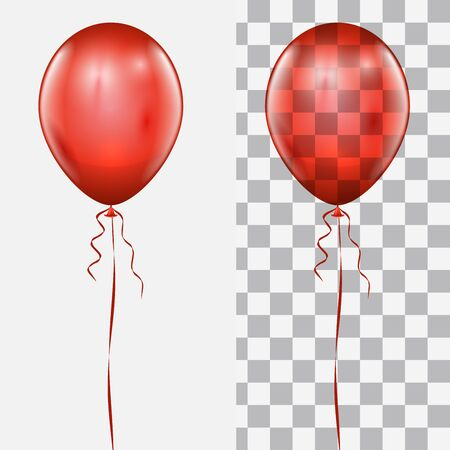 Realistic red balloon isolated on white and checker background vector template.