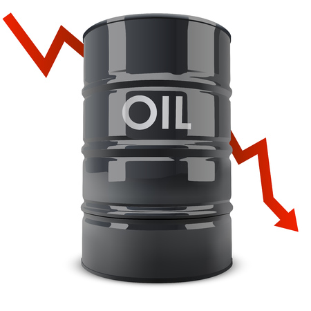 regress: Black oil barrel with red arrow going down vector illustration. Oil price fall concept. Illustration