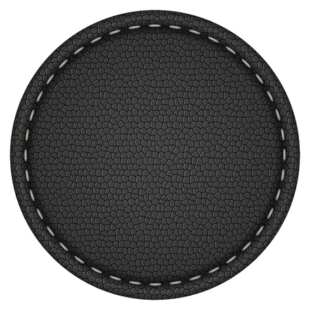 Étiquette en cuir noir cousu rond en blanc isolé sur fond blanc modèle de vecteur.