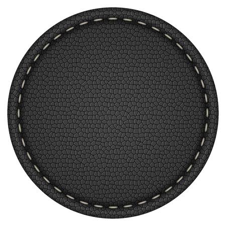 redonda en blanco cosido etiqueta de cuero negro aislado en blanco del fondo del vector.