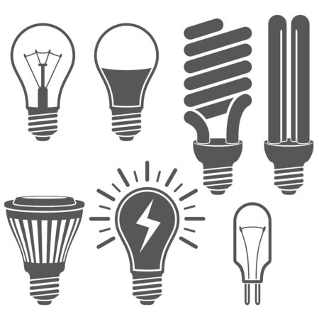 led lamp: Black and white light bulb icons vector set.  Classic, energy saving and LED lamp signs.