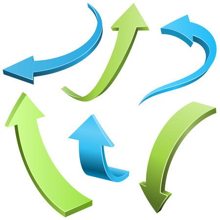 flechas curvas: conjunto de vectores flechas curvadas abstracta aislado sobre fondo blanco. Azul y verde de la flecha 3D colección de formas. Vectores
