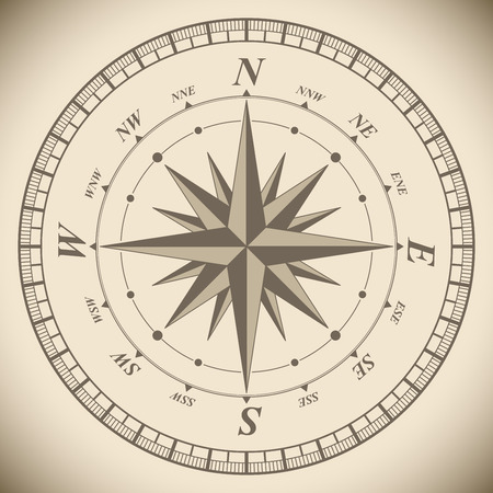 latitude: Vintage compass wind rose vector template. Adventure symbol illustration. Illustration