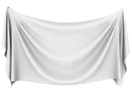 cloths: Blank white hanging cloth banner with folds isolated on white background. 3D rendering. Stock Photo