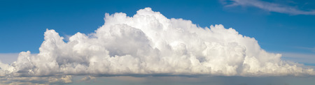 panoramic sky: Blue sky with big fluffy cumulus cloud wide panoramic background.