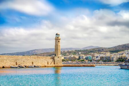 rethymno: Rethymno old Venetian harbor with the Egyptian lighthouse, Crete island, Greece. It was built in 1830 by Egyptians.
