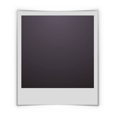 snapshot: Blank printed photo with shadow creating effect of curved edges vector template. Illustration