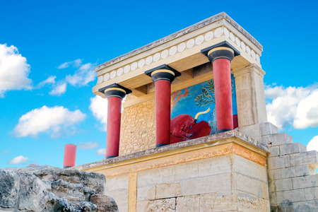 Ancient North Entrance to the Knossos palace with charging red bull fresco on sunny summer day, Crete, Greece. Editorial