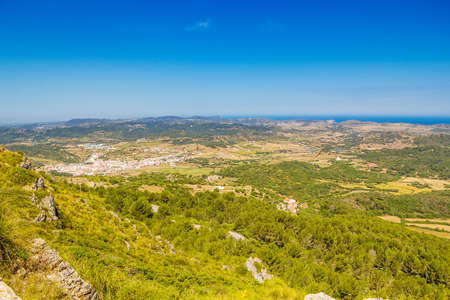 menorca: Menorca island landscape viewed from Monte Toro, Balearic islands, Spain.