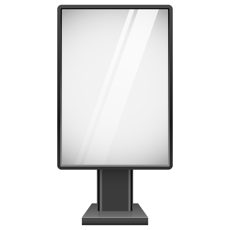 advertising board: Blank street advertising board with black frame isolated on white background vector template.