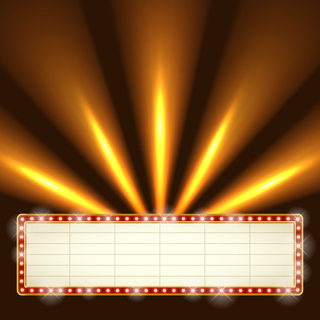 Blank illuminated marquee frame with bright searchlights in the background. Show performance information board vector template. Vettoriali