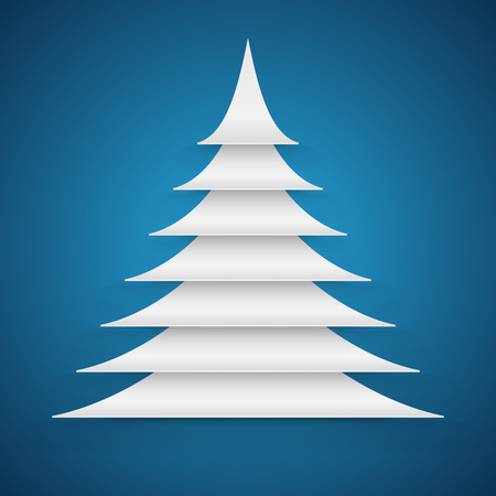 multi layered: Abstract white paper cut Christmas tree on blue background vector card.