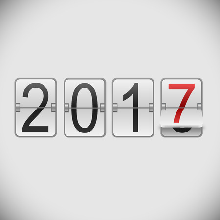 new year counter: White mechanical scoreboard 2017 New Year vector template. Illustration