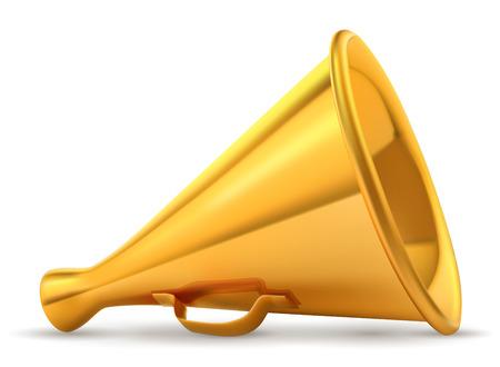 Golden retro loudspeaker isolated on white background vector illustration. Illustration