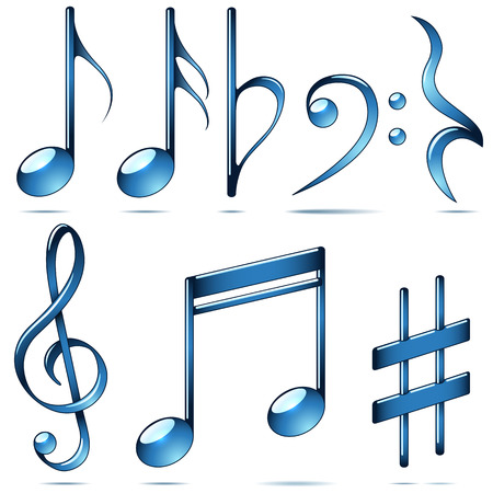 music notes vector: Music notation blue glass symbols set isolated on white background. Musical notes vector collection.