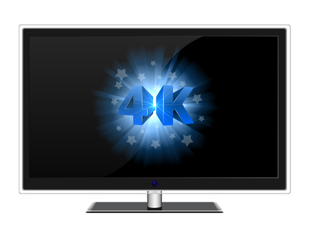 blue widescreen widescreen: Modern widescreen TV with blue 4K sign on black screen vector template. Illustration