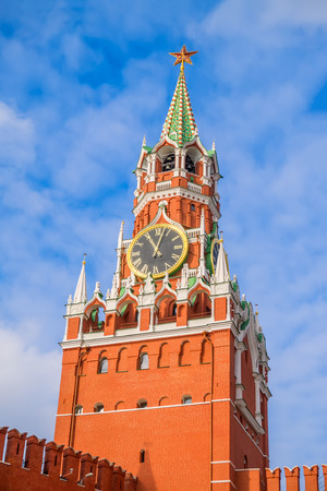 spassky: The Spasskaya Tower of the Moscow Kremlin on sunny day, Russia. It was built in 1491 by the Italian architect Pietro Antonio Solari. Its one of the symbols of Moscow.