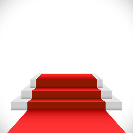 prestige: Empty three step podium with red carpet isolated on white background.