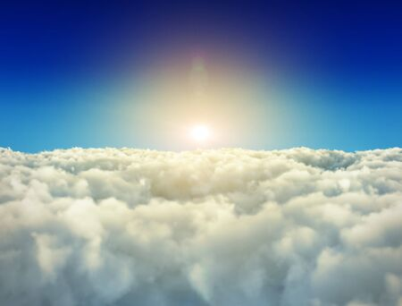 Bright sun is shining over white clouds 3D rendering background. Stock Photo