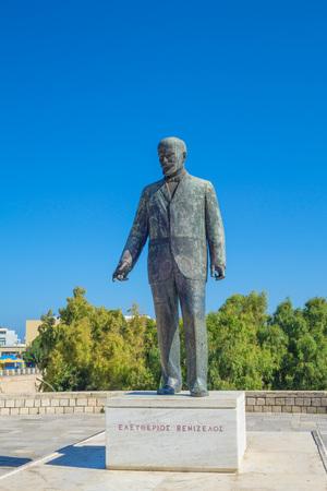 strret: Eleftherios Venizelos Statue in Heraklion city, Crete, Greece.
