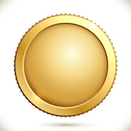 coin: Shiny gold coin isolated on a white background. Vector illustration of golden blank label.