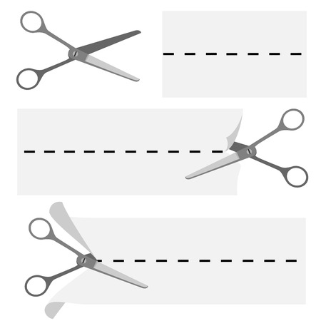 scissors cutting paper: Scissors cutting paper sign for monochrome newspaper coupon print vector template. Illustration