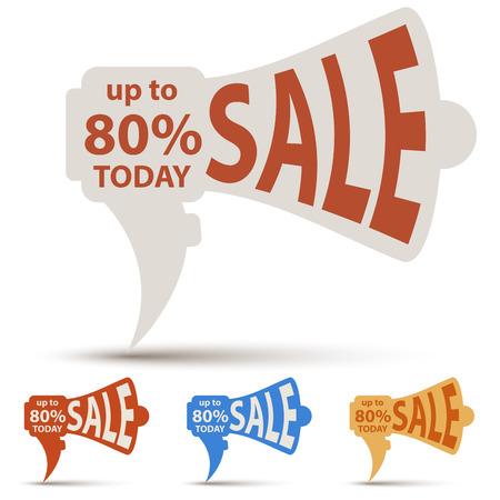 wholesale: Loudspeaker paper cut sale label vector template. Wholesale banner design. Illustration
