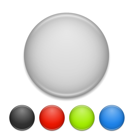 round: Blank round white and color chest badge vector template.