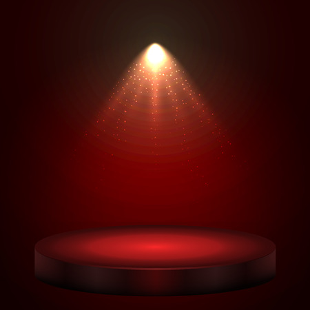 ceremony: Red illuminated with spotlight stage with round podium holiday vector background.