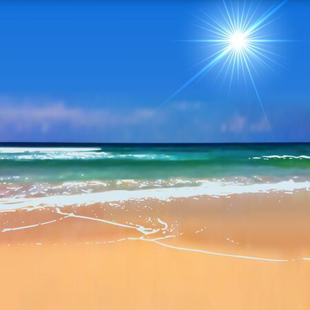 summertime: Summertime beach with bright sun blurred vector background. Gradient mesh is used.