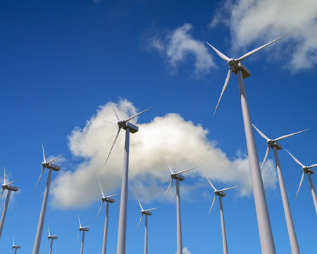 windturbine: Wind generator mills againsd blue sky and clouds. Green energy concept. 3D illustration.